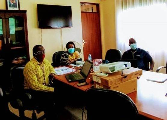 Members of the EIS research team working on their report. It was finalised in April 2020 and the results were used to inform the newly developed training manuals on SGBV for police and judicial officers