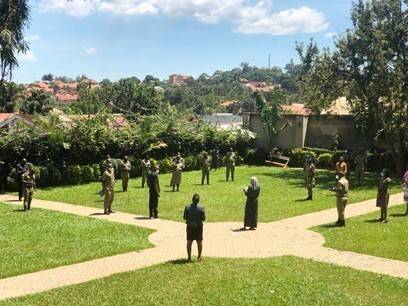 Dr. John Kamya, the Commandant of PSCSC facilitates the Power Walk; an interactive exercise creating understanding of power and its relationship to gender and the risk of sexual and gender based violence.